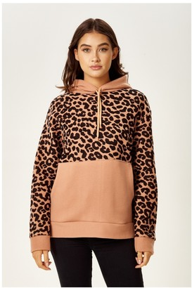 Liquorish Animal Print Fleece Hoodie Sweatshirt