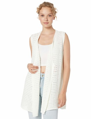 Jack by BB Dakota Junior's Ivory Coast Drape Front Sweater Medium