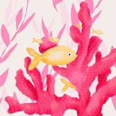 Oopsy Daisy Fine Art For Kids Pink Coral and Little Fish Stretched Canvas Wall Art by Meghann O'Hara, 10 by 10-Inch