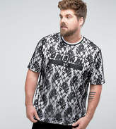 Asos PLUS Longline T-Shirt With Lace Double Layer And Text Print