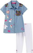 Betsey Johnson Chambray Sequin Top & Legging Set (Toddler Girls)