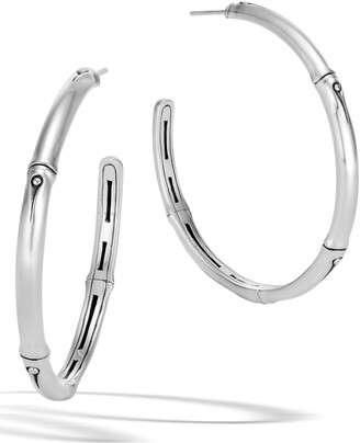 John Hardy Bamboo Collection Large Sterling Silver Hoop Earrings