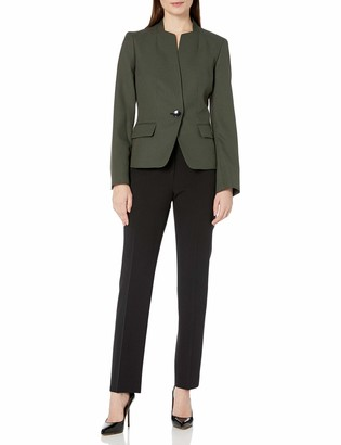 Le Suit LeSuit Women's 1 Button Birdseye Jacquard Slim Pant Suit