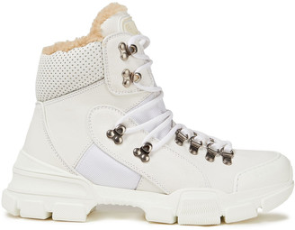 Gucci Flashtrek Perforated Leather, Suede And Canvas Ankle Boots