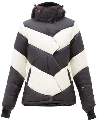 Perfect Moment Super Day Chevron Quilted Down Ski Jacket - Womens - Black Stripe