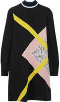 MSGM Paneled Silk Crepe De Chine Mini Dress - Black