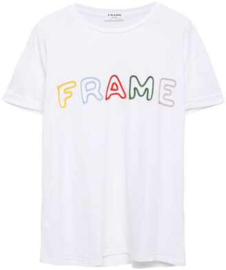 Frame Embroidered Cotton-jersey T-shirt