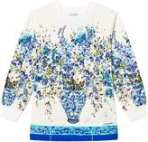 Dolce & Gabbana White and Blue Floral Long Sleeve Tee