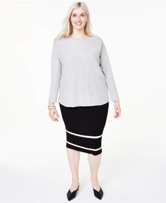 Charter Club Plus Size Cashmere Shirttail Sweater
