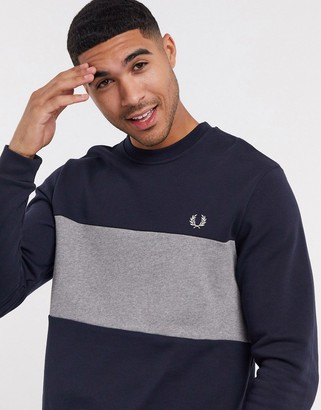Fred Perry colour block crew neck sweat in navy