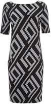 Black Jacquard Geometric Print Dress