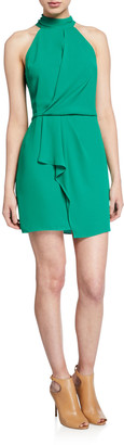 Halston F2 Sleeveless Mock-Neck Dress with Drape Front Detail