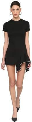 Area Embellished Peplum Jersey Mini Dress