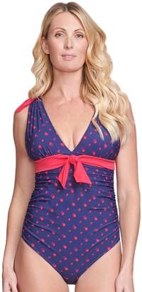 Women's Mazu Swim Polka-Dot Grecian One-Piece Swimsuit with Body Sculptor