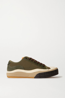 Chloé Clint Suede, Leather And Rubber-trimmed Canvas Sneakers - Dark green