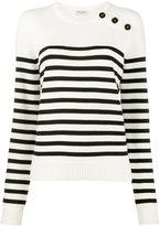Saint Laurent White striped jumper - women - Wool - XS