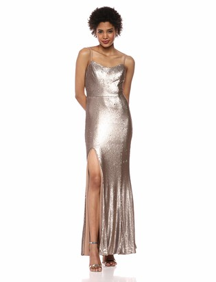 Dress the Population Women's Ingrid Sleeveless Sequin Long Gown with Slit Dress