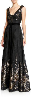 Marchesa V-Neck Sleeveless Metallic Fils Coupe Gown w/ Shoulder Detailing