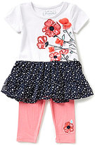 Flapdoodles Little Girls 2T-6X Poppy Dotted Ruffled Dress & Leggings Set