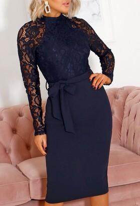 Pink Boutique Lola Navy Lace Long Sleeve Midi Dress