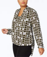 Alfani Plus Size Surplice High-Low Blouse, Created for Macy's