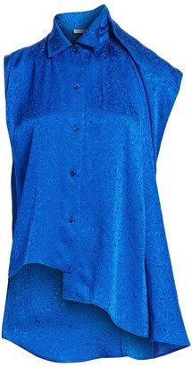 Balenciaga Asymmetric Jacquard Blouse