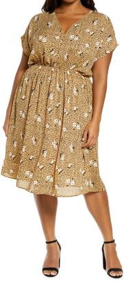 Bobeau Print Fit & Flare Dress