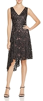 Aidan Mattox Embroidered Lace Asymmetric Dress