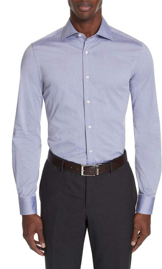 Canali Slim Fit Stretch Dot Dress Shirt