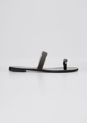Giuseppe Zanotti Crystal Metallic Toe-Ring Flat Sandals
