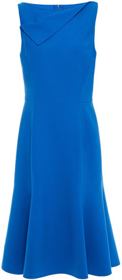 Oscar de la Renta Fluted Wool-blend Crepe Dress