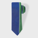 Paul Smith Men's Green And Blue Asymmetric Stripe Narrow Silk Tie