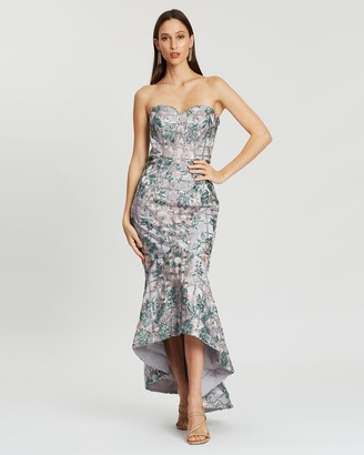 Bariano Quinn Sweetheart Flower Sequin Gown