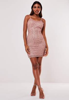 Missguided Premium Pink Strappy Beaded Embellished Mini Dress