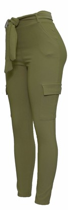 Barfly Fashion Ladies Cargo Combat Stretch Casual Womens Trousers Slim Fit with Fabric Tie Up Belt (Khaki 12)
