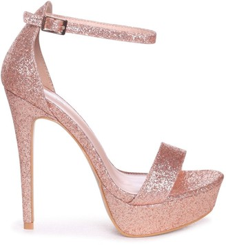 Linzi Alesha Rose Gold Glitter Platform Stiletto Heel