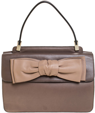 Valentino Dark Beige Leather Bow Top Handle Bag
