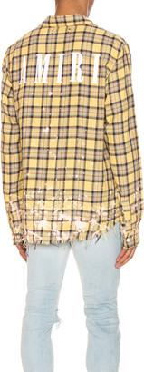 Amiri Splatter Plaid Shirt in Yellow & Brown | FWRD