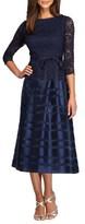 Alex Evenings Women's Mixed Media Fit & Flare Dress
