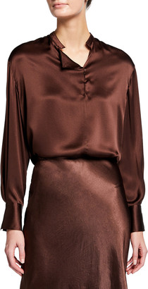 Vince Band Collar Drape Front Blouse