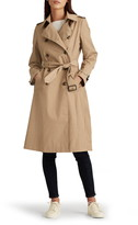 Double Breasted Long Hooded Trench Coat LAUREN RALPH LAUREN