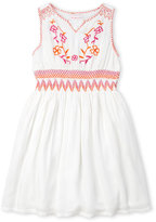 Design History Girls 7-16) Split V-Neck Embroidered Dress