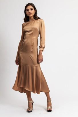 Liquorish Camel One Sleeve High Neck Dress with Deep Slit on The Side