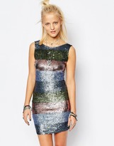 Religion Low Back Body-Conscious Dress In Festival Stripe All Over Sequin