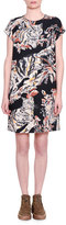 Stella McCartney Cap-Sleeve Cat-Print Shift Dress, Black