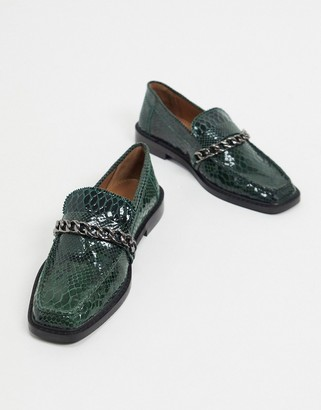 ASOS DESIGN Marsh leather chain loafers in green snake