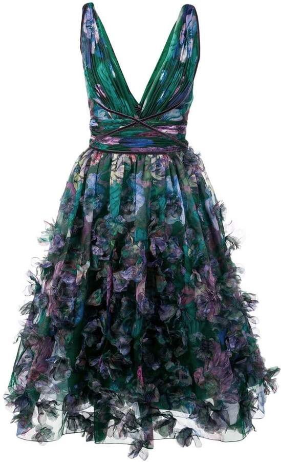 Marchesa floral-appliquéd midi dress