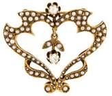 14K Pearl & Diamond Vintage Brooch