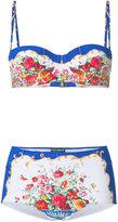 Dolce & Gabbana floral embroidered bikini set - women - Polyamide/Spandex/Elastane - 3