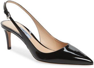 Prada Pointed Toe Slingback Patent Pump